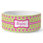 Ogee Ikat Ceramic Dog Bowl (Personalized)