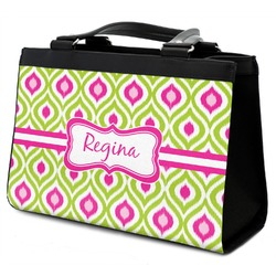 Ogee Ikat Classic Tote Purse w/ Leather Trim (Personalized)