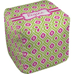 Ogee Ikat Cube Pouf Ottoman (Personalized)