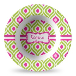 Ogee Ikat Plastic Bowl - Microwave Safe - Composite Polymer (Personalized)