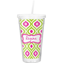 Ogee Ikat Double Wall Tumbler with Straw (Personalized)