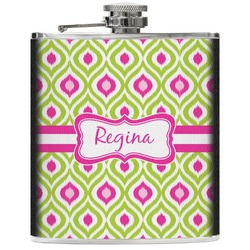 Ogee Ikat Genuine Leather Flask (Personalized)