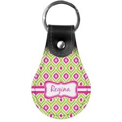 Ogee Ikat Genuine Leather  Keychain (Personalized)