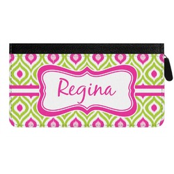 Ogee Ikat Genuine Leather Ladies Zippered Wallet (Personalized)