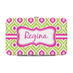 Ogee Ikat Genuine Leather Small Framed Wallet (Personalized)