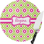 Ogee Ikat Round Glass Cutting Board (Personalized)
