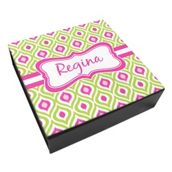 Ogee Ikat Leatherette Keepsake Box - 8x8 (Personalized)