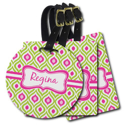 Ogee Ikat Plastic Luggage Tags (Personalized)