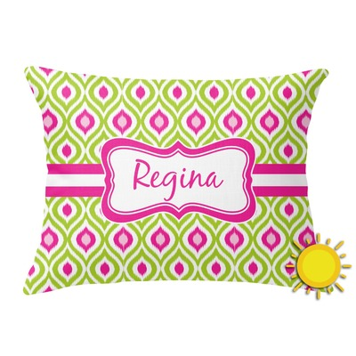 Ogee Ikat Outdoor Throw Pillow (Rectangular) (Personalized)