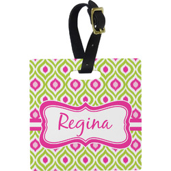 Ogee Ikat Square Luggage Tag (Personalized)