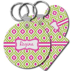Ogee Ikat Plastic Keychains (Personalized)