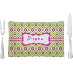 Ogee Ikat Glass Rectangular Lunch / Dinner Plate - Single or Set (Personalized)