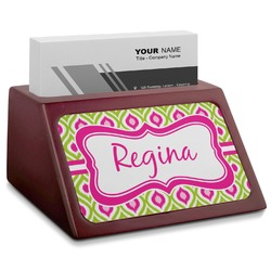 Ogee Ikat Red Mahogany Business Card Holder (Personalized)