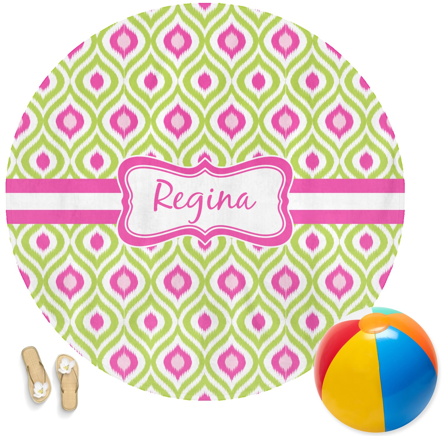 Ogee Ikat Round Beach Towel Personalized Youcustomizeit