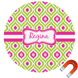 Ogee Ikat Round Car Magnet (Personalized)