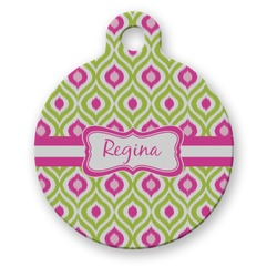 Ogee Ikat Round Pet Tag (Personalized)