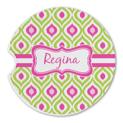 Ogee Ikat Sandstone Car Coasters (Personalized)