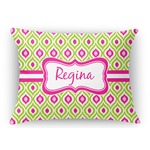 Ogee Ikat Rectangular Throw Pillow Case (Personalized)