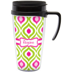 Ogee Ikat Travel Mug with Handle (Personalized)