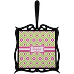 Ogee Ikat Trivet with Handle (Personalized)