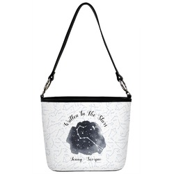 Zodiac Constellations Bucket Bag w/ Genuine Leather Trim (Personalized)