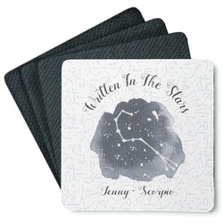 Zodiac Constellations 4 Square Coasters - Rubber Backed (Personalized)