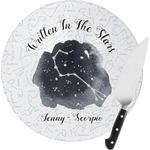 Zodiac Constellations Round Glass Cutting Board (Personalized)