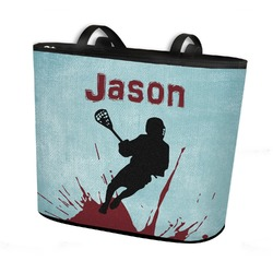 Lacrosse Bucket Tote w/ Genuine Leather Trim (Personalized)