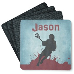 Lacrosse 4 Square Coasters - Rubber Backed (Personalized)