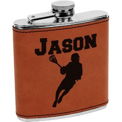 Lacrosse Leatherette Wrapped Stainless Steel Flask (Personalized)