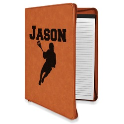 Lacrosse Leatherette Zipper Portfolio with Notepad (Personalized)