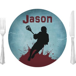 """Lacrosse Glass Lunch / Dinner Plates 10"""" - Single or Set (Personalized)"""