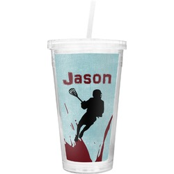 Lacrosse Double Wall Tumbler with Straw (Personalized)