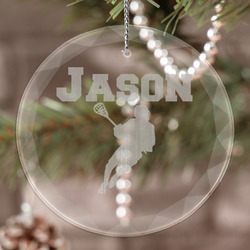 Lacrosse Engraved Glass Ornament (Personalized)