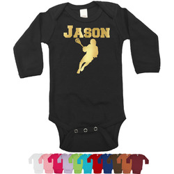 Lacrosse Foil Bodysuit - Long Sleeves - 0-3 months - Gold, Silver or Rose Gold (Personalized)