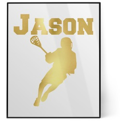 Lacrosse 8x10 Foil Wall Art - White (Personalized)