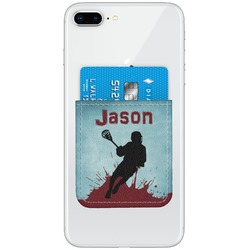 Lacrosse Genuine Leather Adhesive Phone Wallet (Personalized)