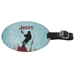 Lacrosse Genuine Leather Oval Luggage Tag (Personalized)