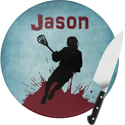 Lacrosse Round Glass Cutting Board (Personalized)