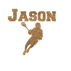 Lacrosse Glitter Iron On Transfer- Custom Sized (Personalized)