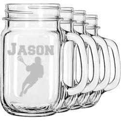 Lacrosse Mason Jar Mugs (Set of 4) (Personalized)