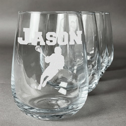 Lacrosse Wine Glasses (Stemless Set of 4) (Personalized)