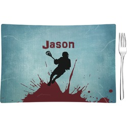 Lacrosse Glass Rectangular Appetizer / Dessert Plate (Personalized)