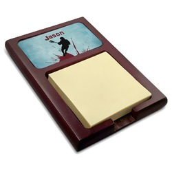 Lacrosse Red Mahogany Sticky Note Holder (Personalized)