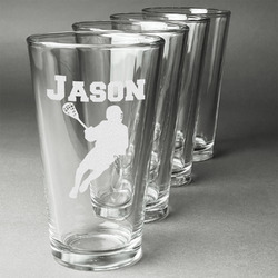 Lacrosse Beer Glasses (Set of 4) (Personalized)