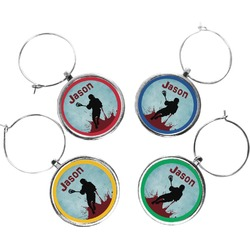 Lacrosse Wine Charms (Set of 4) (Personalized)