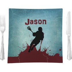 """Lacrosse Glass Square Lunch / Dinner Plate 9.5"""" - Single or Set of 4 (Personalized)"""