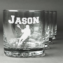 Lacrosse Whiskey Glasses (Set of 4) (Personalized)