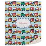Trains Sherpa Throw Blanket (Personalized)