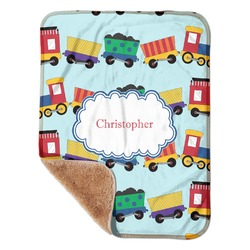 "Trains Sherpa Baby Blanket 30"" x 40"" (Personalized)"